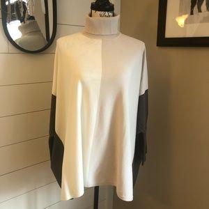 Alfani Colorblock Turtleneck Poncho sweater
